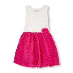 Girls Sleeveless Rosette Lace And Ruffle Flare Dress - Pink - The Children's Place