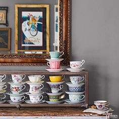 Because one cup of coffee just won't do. Stack them high and keep them coming. A weathered cabinet makes the perfect home. Tea Cup Display, Displaying Collections, Vintage Tea, Decor Styles, Home Accessories, Tea Cups, Sweet Home, House Design, Home Decor