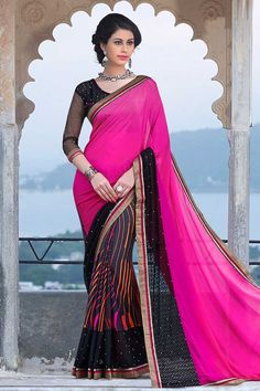 Black, grey and pink crepe and georgette saree with black georgette blouse.  Embellished with embroidered, zari and stone.  Saree comes with round neck blouse.  http://www.andaazfashion.com/festival/diwali-collection/style/saree-diwali-collection