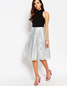 Image 1 of Lashes Of London Spectrum Holograph Midi Skirt