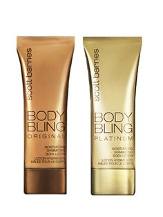 Scott Barnes Body Bling- Jennifer Lopez and Christina Aguilera are already fans of celebrity makeup artist Scott Barnes' new shimmering body lotion, and we can see why. The gold-flecked moisturizer adds a subtle sheen in place of self-tanner. The best part? There's a special shade, Platinum (right), that caters to light-skinned blondes.