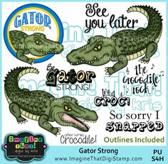 Alligator or Crocodile - these digi stamps are great for the boys!