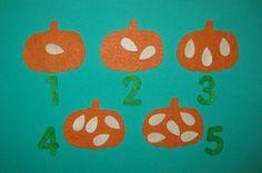 Felt Pumpkin Seed Counting 15 Pumpkin Count 15 by funandsimplefelt, $6.00