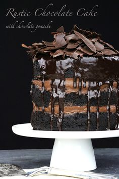 Rustic Chocolate Cake with Chocolate Ganache. The post Rustic Chocolate Cake with Chocolate Ganache appeared first on All The Food That's Fit To Eat . Love Chocolate, Chocolate Lovers, Chocolate Desserts, Chocolate Cake With Ganache, Decadent Chocolate Cake, Chocolate Grooms Cake, Death By Chocolate Cake, Diabetic Chocolate Cake, Chocolate Shard Cake