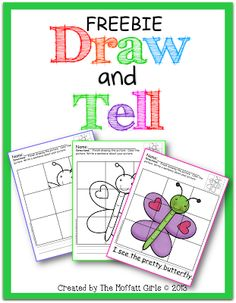 Draw and Tell FREEBIE!  Teaches kids how to draw and allows them to write a sentence about their drawing.  A good Brain Break!