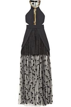 HOLY SHIT. Sass & bide Notions Of Beauty embellished crepe and tulle maxi dress | NET-A-PORTER