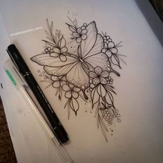 Picture could contain: Drawing - Tattoos - # could . - Tattoos - Tattoo Designs For Women Hand Tattoos, Body Art Tattoos, Sleeve Tattoos, Rose Tattoos, Butterfly With Flowers Tattoo, Butterfly Tattoo Designs, Butterfly Mandala Tattoo, Butterfly Design, Butterfly Drawing