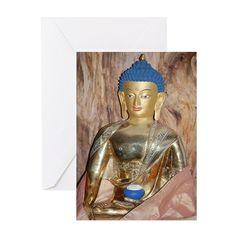 Blue haired buddha Greeting Card on CafePress.com