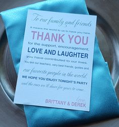 Sheek, elegant wedding thank you on back of menu on napkin and charger