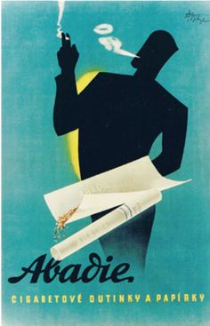 """Poster by Abel, ca. 1935, """"Abadie, cigarettes rolling paper"""". (Czech. market, Slovakian language)"""