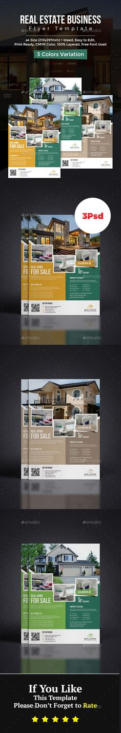 #Real #Estate #Flyer - Flyers Print Templates Download here:  https://graphicriver.net/item/real-estate-flyer/20439106?ref=alena994