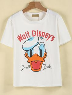 White Short Sleeve Donald Duck Print T-Shirt pictures
