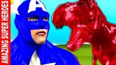 Captain America Superhero Finger Family Rhymes   Gummy Dinosaur & Elepha...