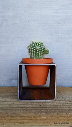 Square 4 x4 Modern Block Planter Modern Steel by IronandDibble