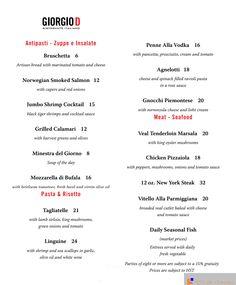 Giorgio D Restaurant Menu - Lunch