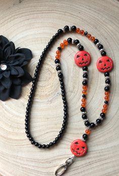 Black, Silver and Orange Beaded Lanyard / Halloween / Pumpkin / Badge Holder / ID Holder / Teacher Holiday Jewelry, Halloween Jewelry, Fall Jewelry, Diy Jewelry, Jewelery, Jewelry Design, Jewelry Making, Halloween Tags, Halloween Accessories