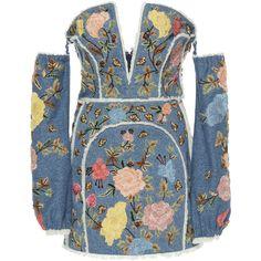 Dundas Denim Corset Mini Dress ($6,970) ❤ liked on Polyvore featuring dresses, blue, blue dress, floral embroidered dress, short sleeve dress, blue denim dress and denim corset