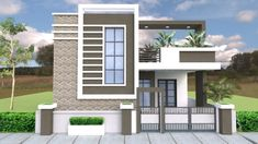 House front - One Story House with 3 Bedroom Plot Single Floor House Design, Simple House Design, Bungalow House Design, House Front Design, Modern House Design, Village House Design, House Design Pictures, House Elevation, Front Elevation