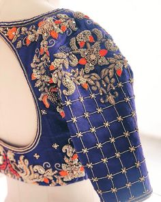 New Embroidery Blouse Indian Sleeve Ideas Wedding Saree Blouse Designs, Pattu Saree Blouse Designs, Simple Blouse Designs, Fancy Blouse Designs, Blouse Neck Designs, Blouse Patterns, Blouse Designs Embroidery, Embroidery Patterns, Embroidery Saree