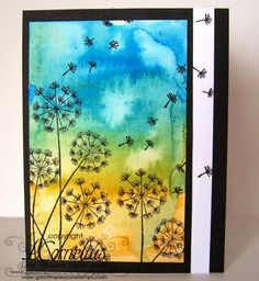 Great Impressions Stamps, Seeded Dandelions, Blowing Seeds, watercolor background, tombow markers, handmade cards,Leah Cornelius Paper Blossoms