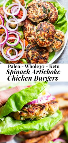 These chicken burgers are packed with veggies and tons of flavor! A savory spinach artichoke mixture is added to the burgers before they're grilled and topped with more goodies! paleo, and keto friendly. A healthy way to break out of your burger rut! Whole30 Dinner Recipes, Paleo Dinner, Paleo Recipes, Healthy Dinner Recipes, Cooking Recipes, Paleo Food, Paleo Meals, Freezer Recipes, Freezer Cooking