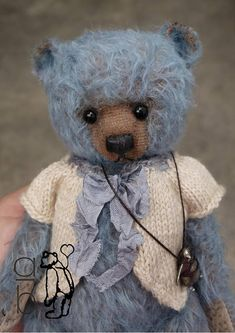 One Of a Kind Blue Mohair Artist Teddy Bear from Aerlinn Bears