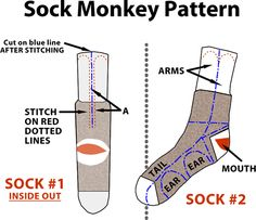 Easy Sock Monkey Pattern | Up, Down & Natural: Silly Socks ~ A Tutorial