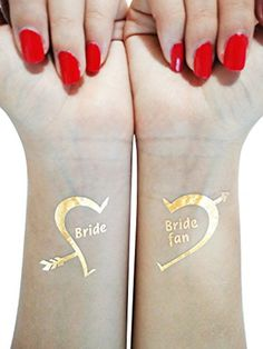 GleeGoods Set of 16 Metallic Gold Flash Temporary Party Bachelorette Tattoos Bride Fan - Bridal favors - Glitter Gift. PERFECT IDEA: for bachelorette party decor supplies. Set includes 16 tattoos in total: 14 for the bride Fans and 2 for the bride. GREAT SIZE: 2'' X 2''. You can apply it on any visible part: wrist, neck, hands, and even face. HIGH QUALITY: Intended to last 3 - 7 days depending on skin and location. Tattoos are waterproof and non-toxic. PACKAGE: Beautiful and cute…