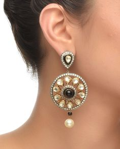 Round Antique Earrings #Jewelry #Fashion #New #Stones #Studded #Ethnic #Indian #Traditional