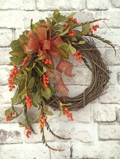 Berry Fall Wreath for Door Berry Wreath Front by AdorabellaWreaths, $152.00