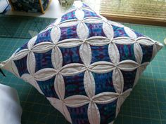 14 inch Cathedral Window Pillow, Quilted purple blue and white pillow with machine quilted backing, Stained glass cushion, stuffed firmly by…