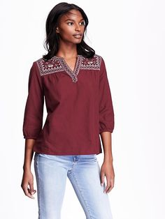 Women's Embroidered-Yoke Top