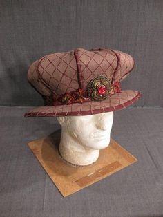 11001412 Hat Mens Renaissance brown burgundy cotton H22.5.JPG