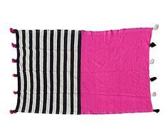 Manta de lana con pompones - 238x158 cm