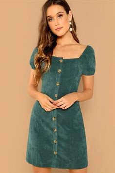 To find out about the Puff Sleeve Button Through Corduroy Dress at SHEIN, part of our latest Dresses ready to shop online today! Fall Dresses, Cute Dresses, Summer Dresses, Beautiful Dresses, Simple Dresses, Casual Dresses, Dress P, Dress Outfits, Dress Clothes