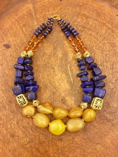 Lapis lazuli, yellow agate and gold plated Ashanti bead necklace