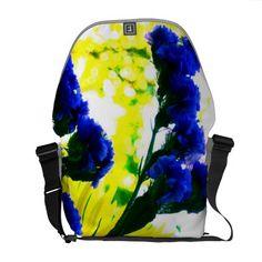 Fluorescence Messenger Bag #blue #yellow #floral #flowers #Rickshaw
