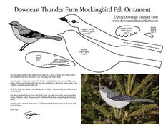 A Mockingbird Felt Ornament Pattern