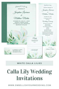 White calla lily wedding invitations featuring a watercolor floral lily design and monogram on the back of the invitations. Visit our website to see the full range of matching wedding stationery that you can personalize for your wedding day. #wedding #weddings #weddinginvitations #weddinginvites #weddingstationery #weddinginvitationsuite  #callalilywedding #whitecallalilyweddinginvitations #callalilyweddinginvitations #floralweddinginvitations