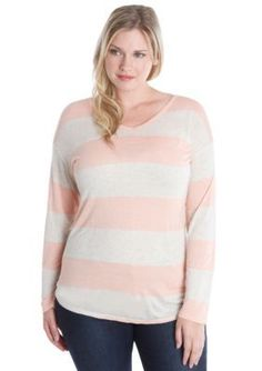 Lucky Brand  Plus Size Wide Stripe Top