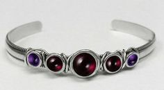 Sterling Silver Hand Made Cuff with Genuine Garnet Accented with Amethyst Silver Dragon-Bracelets. $63.00