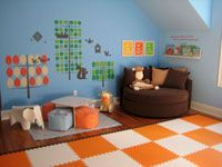 this company has lots of foam floor tiles in cool colors for a kids playroom