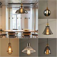 Modern Vintage Industrial Retro Loft Glass Ceiling Lamp Shade Pendant Light E27