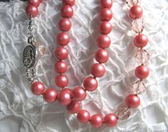 Coral Glass Pearls & crystal beads, necklace and earrings set, by Ann Case, WiredWithLoveJewelry, $46.00