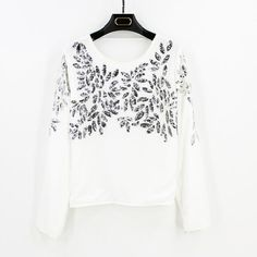 ONE SIZE SM/MED Long Sleeve Floral Embroidery Sequined Beaded Chiffon Shirt Top Blouse Vintage Boho HOLIDAY