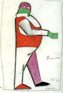 "1913 Malevich Kasimir- Fat Man- sketch of a costume for the opera ""Victoria sobre el sol"" Piet Mondrian, Statues, Kazimir Malevich, Russian Avant Garde, Avant Garde Artists, Man Sketch, Fat Man, Oil Painting Reproductions, Victoria"