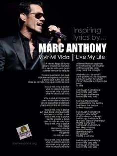 "Inspiring Lyrics: Marc Anthony ""Vivir Mi Vida"" ""Live My Life"" with English Translation. #lyrics #inspiration #journeyspace"