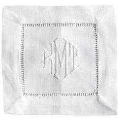 Monogrammed linen cocktail napkins -  custom embroidered