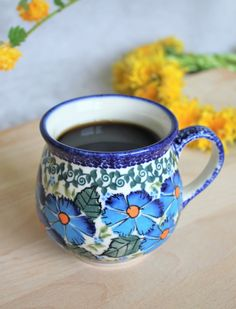 Strong coffee tastes the best from Polish pottery mug :)  Get it at slavicapottery.com!