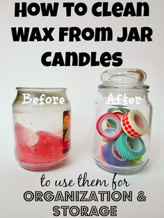 have a couple candle jars I wouldnt mind cleaning out and reusing! How to Clean Wax from Jar Candles to Use for Organization & Storage Do It Yourself Organization, Storage Organization, Organizing Tips, Diy Cleaning Products, Cleaning Hacks, Cleaning Solutions, Cleaning Shoes, Speed Cleaning, Crafty Craft